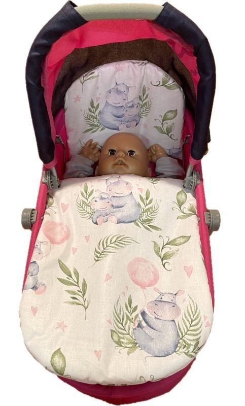 SDS Peřinky do kočárku pro panenky Hrošíci baby Bavlna, výplň: Polyester, 1x 27x40 cm / 25x20 cm