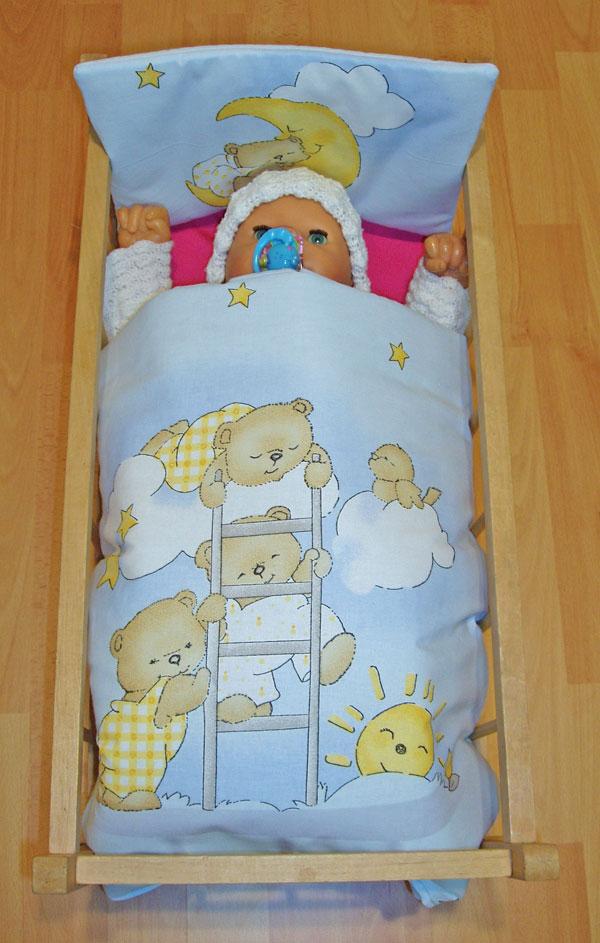 Peřinky do postýlky pro panenky Medvídci na žebříku modrá
