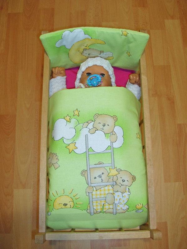 Peřinky do postýlky pro panenky Medvídci na žebříku zelená