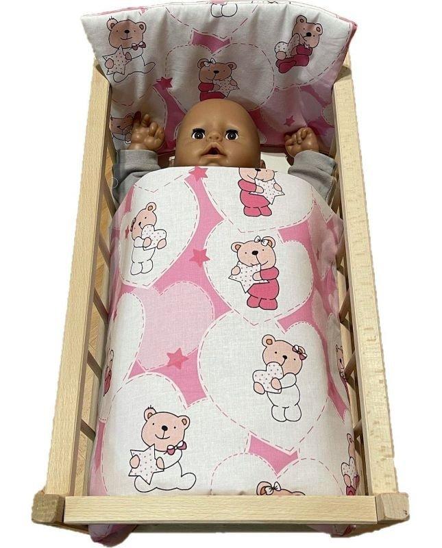 SDS Peřinky do postýlky pro panenky Medvídek srdíčka růžová Bavlna, výplň: Polyester, 1x 38x44 cm / 28x20 cm