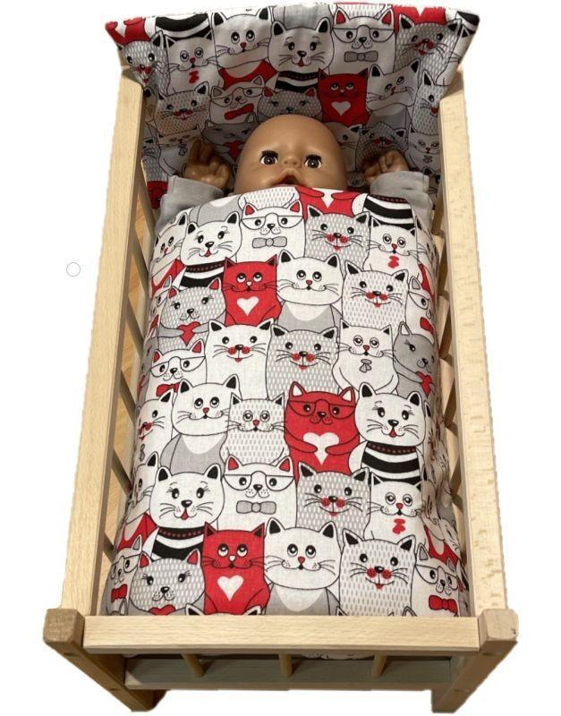 SDS Peřinky do postýlky pro panenky Kočky v kině Bavlna, výplň: Polyester, 1x 38x44 cm / 28x20 cm