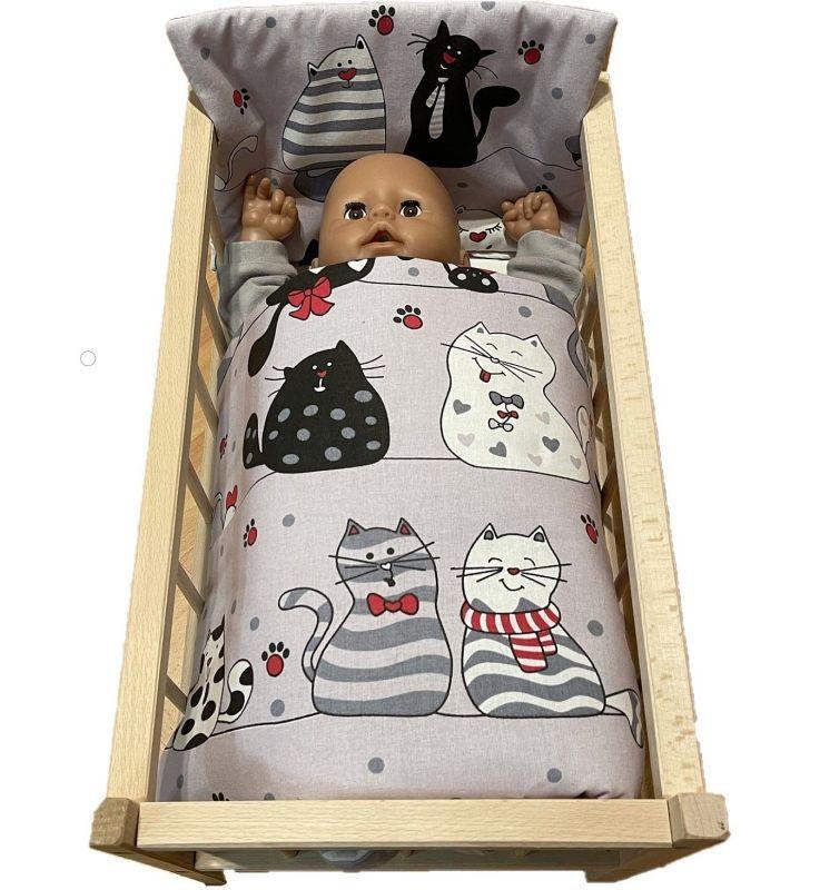 SDS Peřinky do postýlky pro panenky Veselé kočky Bavlna, výplň: Polyester, 1x 38x44 cm / 28x20 cm