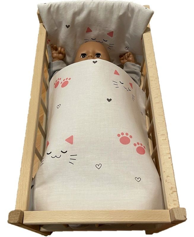 SDS Peřinky do postýlky pro panenky Kočičky bílá Bavlna, výplň: Polyester, 1x 38x44 cm / 28x20 cm