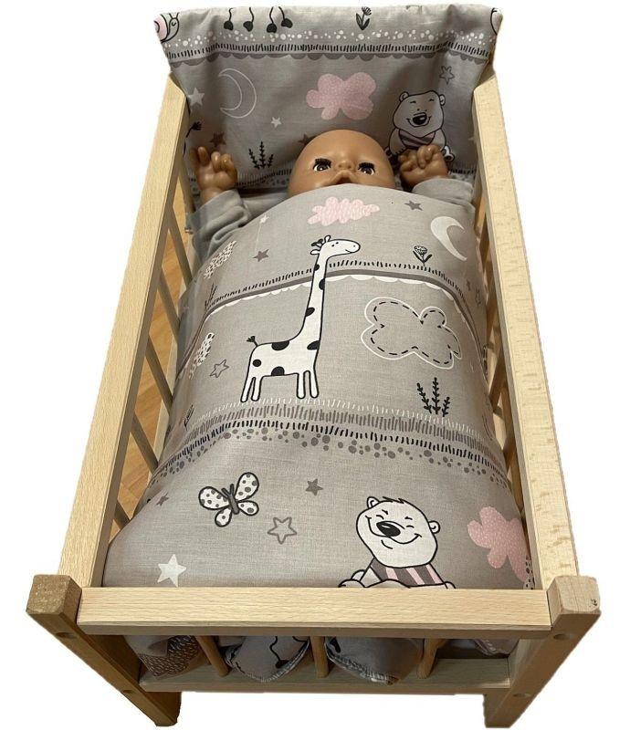 SDS Peřinky do postýlky pro panenky Zvířátka růžová Bavlna, výplň: Polyester, 1x 38x44 cm / 28x20 cm