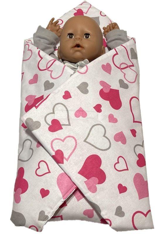 SDS Rychlozavinovačka pro panenky Srdíčka šedorůžová Bavlna, výplň: Polyester, 1x 60x60 cm