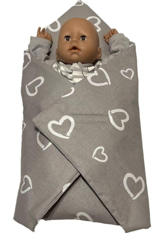 SDS Rychlozavinovačka pro panenky Srdíčka šedá Bavlna, výplň: Polyester, 1x 60x60 cm