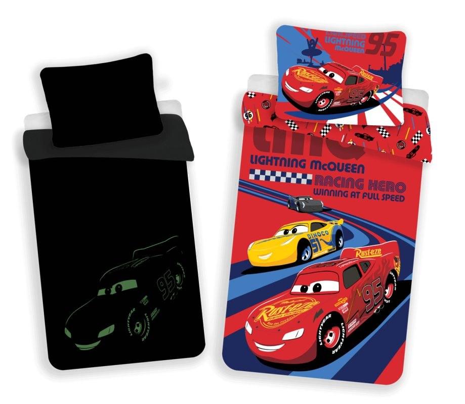 JERRY FABRICS Povlečení Cars red 02 svítící Bavlna, 140/200, 70/90 cm