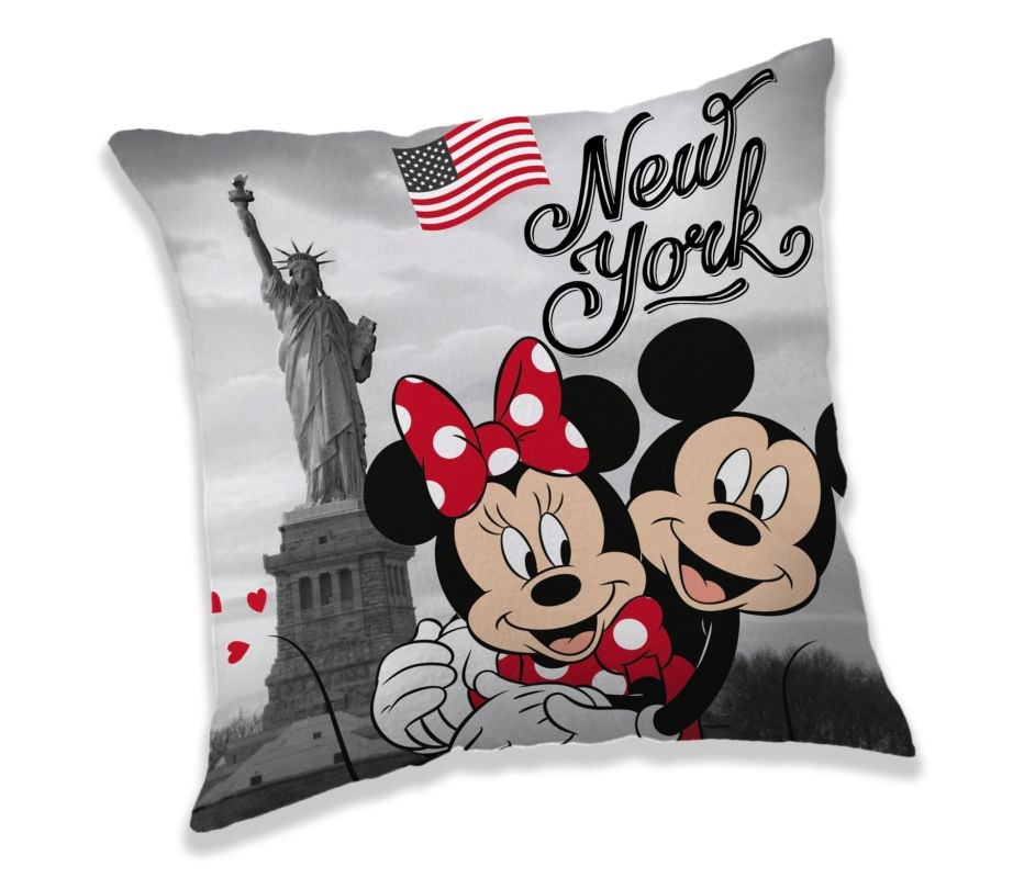 JERRY FABRICS Polštářek Mickey a Minnie New York  Polyester, 40/40 cm