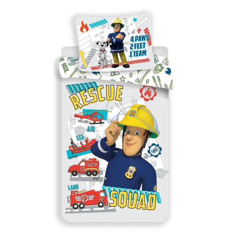 JERRY FABRICS Povlečení do postýlky Požárník Sam Rescue Squad baby  Bavlna, 100/135, 40/60 cm