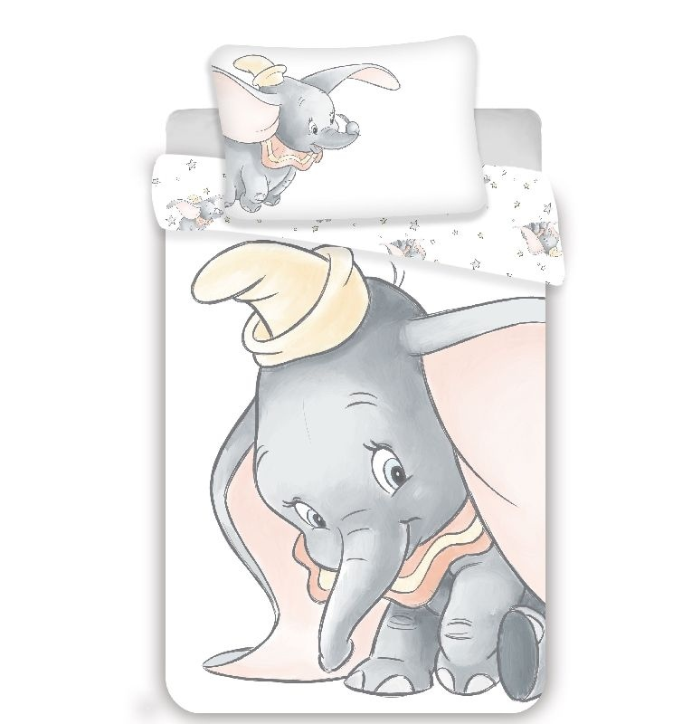 JERRY FABRICS Povlečení do postýlky Dumbo Grey baby  Bavlna, 100/135, 40/60 cm