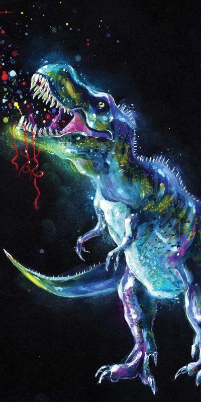 Osuška Dinosaur Black 70/140
