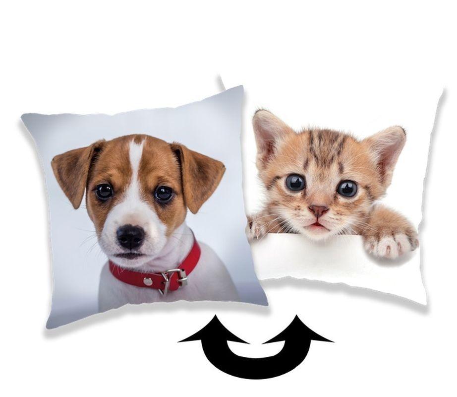 Měnící povlak na polštářek s flitry Pes / Kočka 40/40