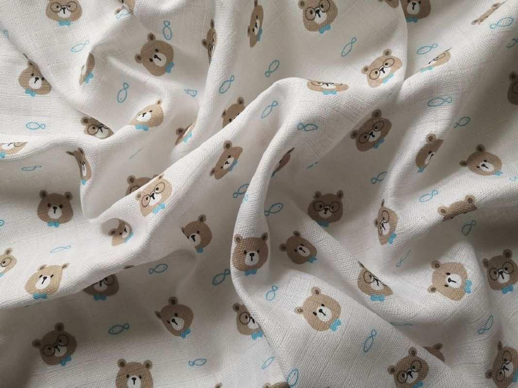 PREM Látková Bambusová tetra plena s potiskem Méďa brýle  60% Bavlna, 40% Bambus, 70/70 cm