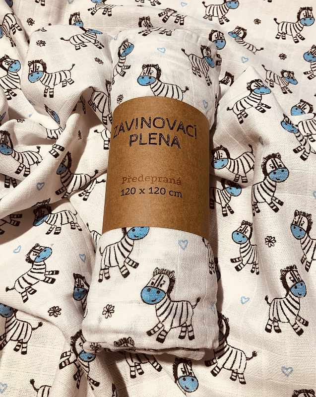 Zavinovací předepraná plena Zebra modrá 120/120