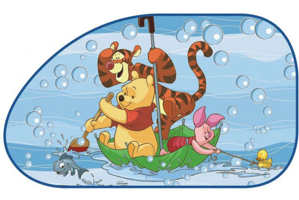 Sluneční clona Medvídek Pů boční šikmá 2 ks (stínítko do auta)