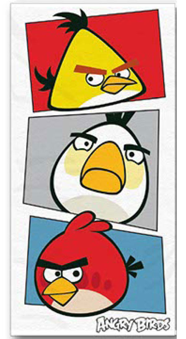 Osuška Angry Birds bílá 70/140 (plážová osuška, dětský ručník Angry Birds)