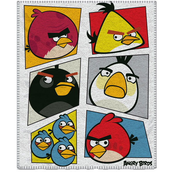 Fleece deka Angry Birds bílá 120/150 (Dětská deka fleece Angry Birds)
