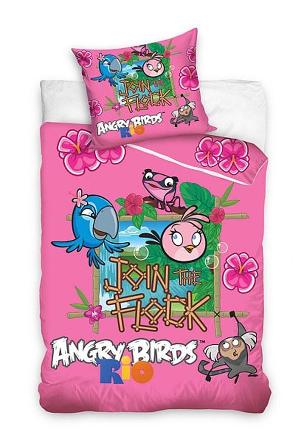 Povlečení Angry Birds Rio růžová 140/200 (dětské ložní povlečení Angry Birds)