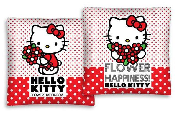 Povlak na polštářek Hello Kitty kytičky 40/40 (dětský polštářek Hello Kitty)