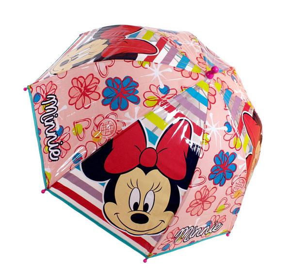 Průhledný deštník Minnie růžová (dětský deštník)