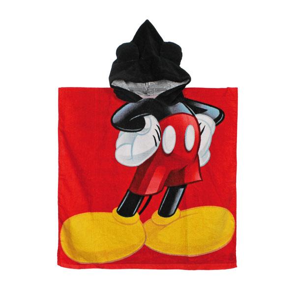 Pončo Mickey Mouse červené 60/120 (osuška s kapucí, dětský ručník Mickey)