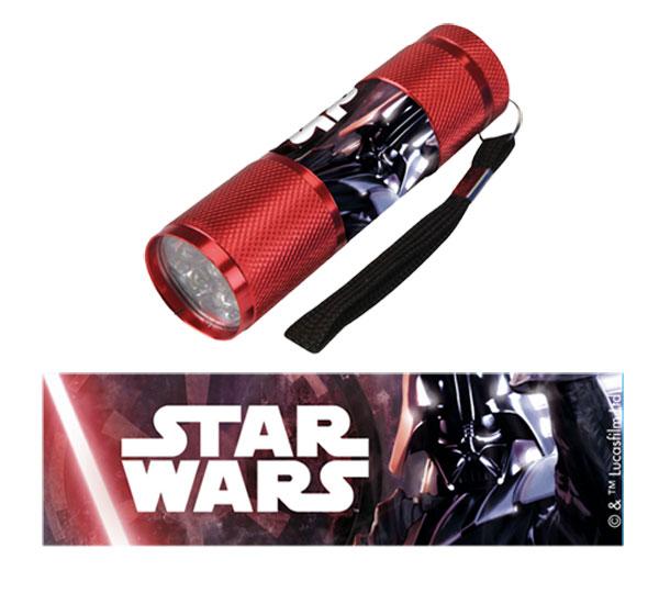Dětská hliníková LED baterka Staw Wars červená