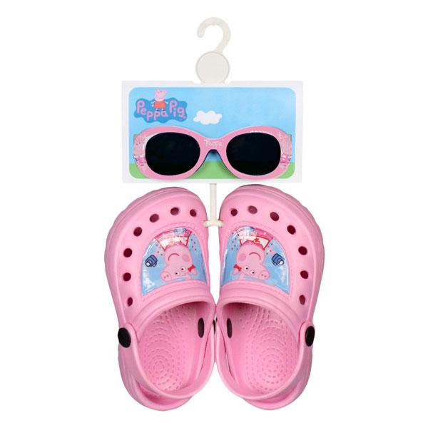 Sada kroksy a sluneční brýle Peppa Pig vel. 22 (Dárková letní souprava Peppa Pig obsahuje letní boty růžové kroksy a sluneční brýle s UV filtrem, botičky ve velikosti 22/23)