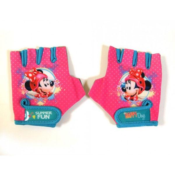 Cyklo rukavice na kolo Minnie Mouse (Dětské cyklo rukavice na kolo s motivem Minnie mouse, měkčené dlaně, propustný elastický materiál, regulace obvodu zápěstí na suchý zip)
