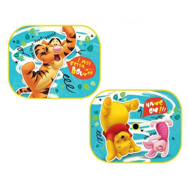 Sluneční clony Medvídek Pů (Ochrana proti slunci do auta 2 ks s obrázkem Medvídek Pů, Tygr a Prasátko, každá clona má jiný obrázek, připevníte pomocí přísavky)