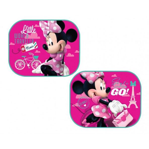 Sluneční clony Minnie Mouse růžová (Ochrana proti slunci do auta 2 ks s obrázkem Minnie Mouse, připevníte pomocí přísavky)