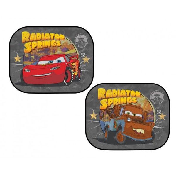 Sluneční clony Blesk a Burák Cars (Ochrana proti slunci do auta 2 ks s obrázkem Bleska a Buráka, každá clona má jiný obrázek, připevníte pomocí přísavky)