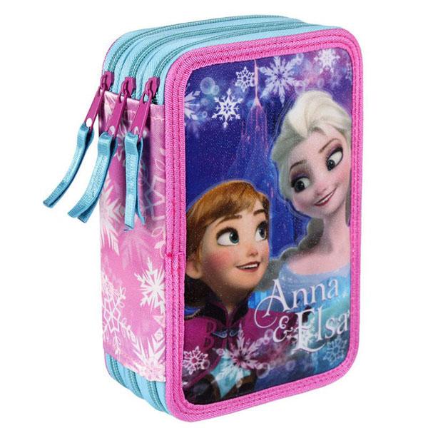 Třípatrový plný penál Ledové Království Anna a Elsa vločky (dětský penál Frozen)