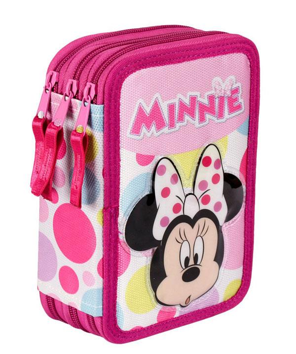 Třípatrový plný penál Minnie puntíky (dětský penál Minnie puntíky)