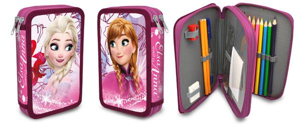 Dvoupatrový plný penál Frozen Anna a Elsa růžová (Dvoupatrový penál Ledové Království s vybavením)