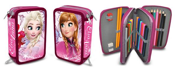 Třípatrový plný penál Ledové Království Anna a Elsa růžová (Třípatrový penál Frozen s vybavením)