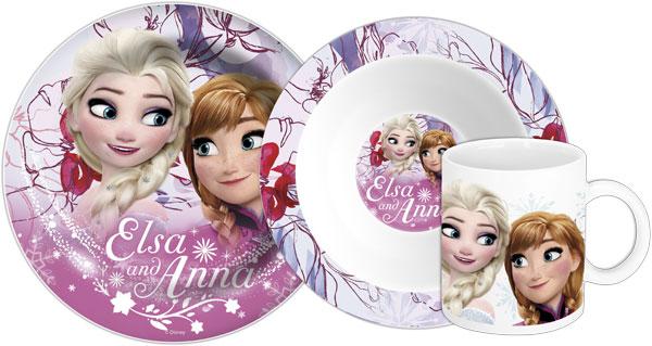 Keramická sada nádobí Ledové Království Anna a Elsa růžová