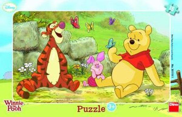 Deskové puzzle Medvídek Pů (Dětské baby puzzle v rámečku se skládají z 15 dílků, velké oblé dílky)