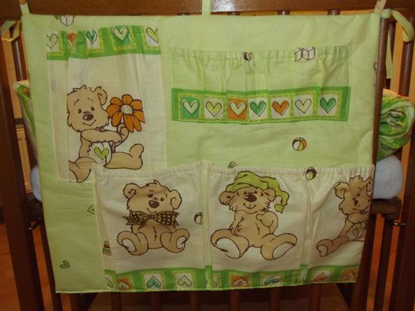 Kapsář na postýlku Veselý medvídek zelinkavá - peřinky pro panenky