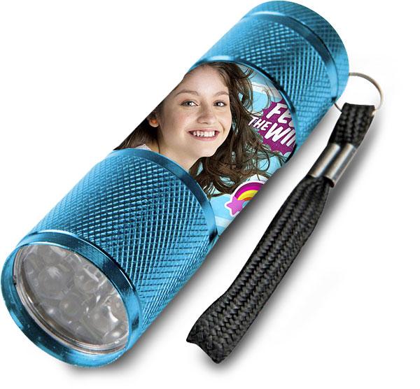 Dětská hliníková LED baterka Soy Luna azurová (LED svítilna)