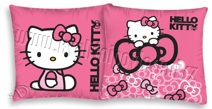 Povlečení na polštářek Hello Kitty mašličky 40x40 (Polštářek Hello Kitty srdíčka)