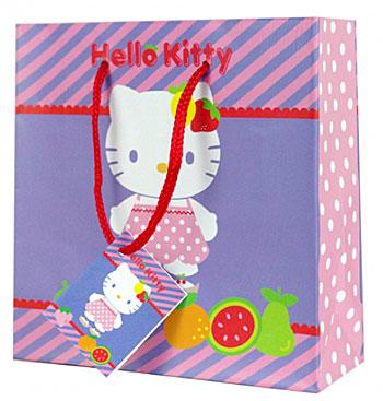 Dárková taštička na CD/DVD Hello Kitty fruity (Papírová dárková taštička Hello Kitty fruity)
