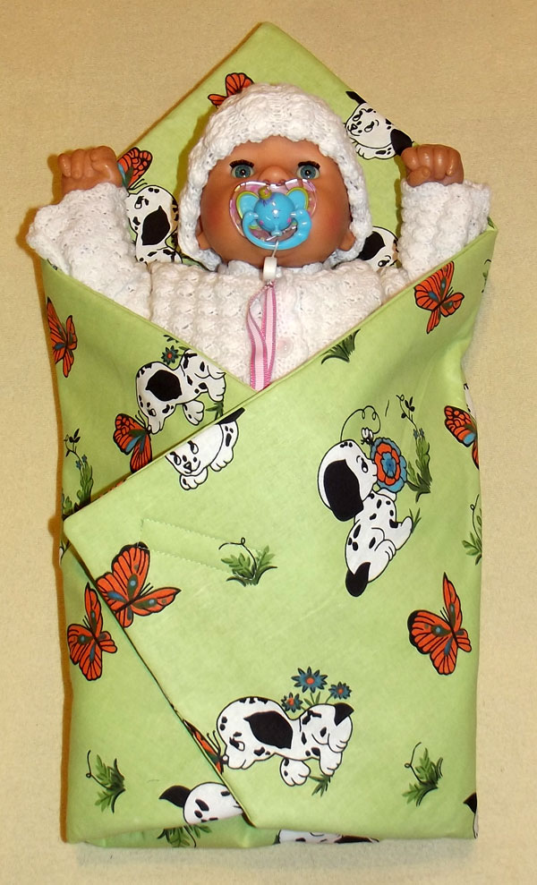 Rychlozavinovačka pro panenky Pejsci zelinkavá (bavlněná rychlozavinovačka pro panenky)