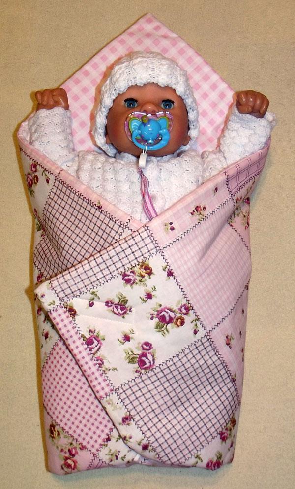 Rychlozavinovačka pro panenky Patchwork růžová (bavlněná rychlozavinovačka pro panenky)